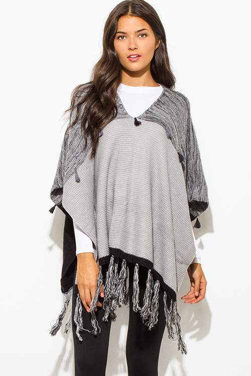 Cute cheap light heather gray color block v neck fringe tassel pullover poncho sweater tunic top