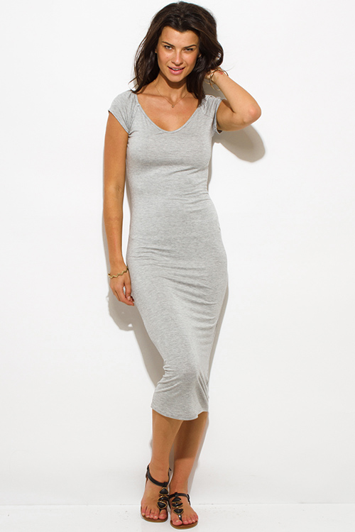 Cute cheap light heather gray jersey cap sleeve off shoulder bodycon fitted midi dress