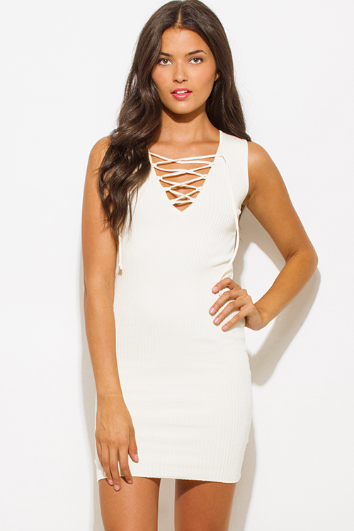 Cute cheap light ivory cream beige ribbed knit laceup sleeveless fitted bodycon club sweater mini dress