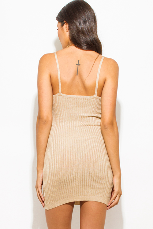 Cute cheap light khaki beige ribbed knit thin strap v neck open back fitted bodycon sweater midi dress