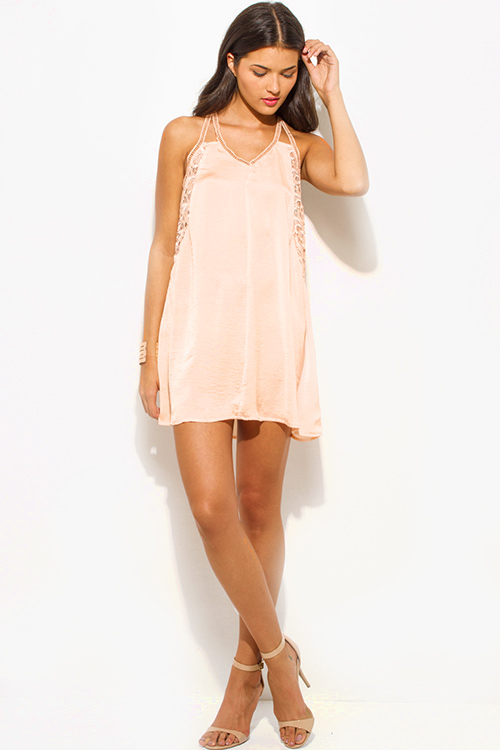 Cute cheap light peach crinkle satin v neck crochet lace cut out spaghetti strap racer back cocktail party shift slip mini dress