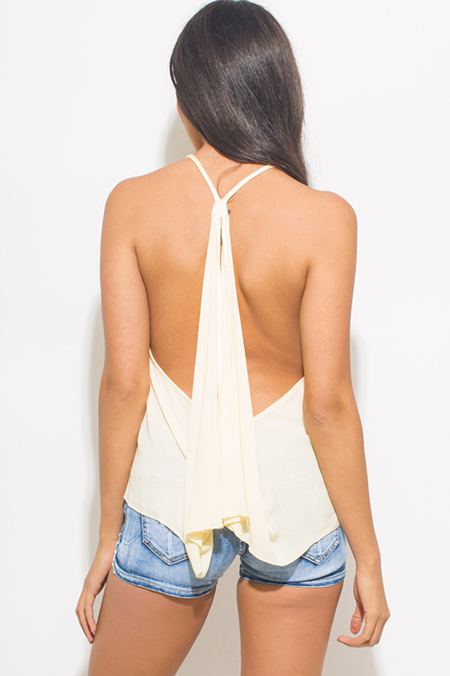 Cute cheap light yellow halter v neck racer back boho beach cover up top