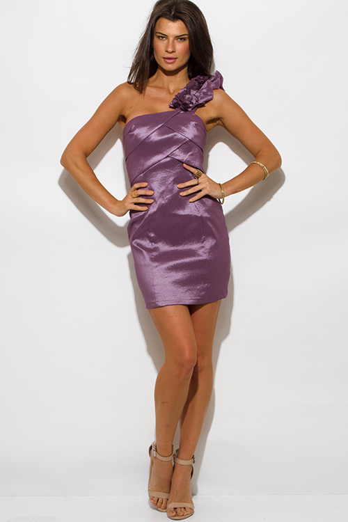 Cute cheap lilac purple metallic tiered one shoulder ruffle cocktail party mini dress