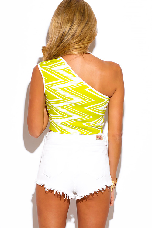 Cute cheap lime green chevron print one shoulder fitted party crop top