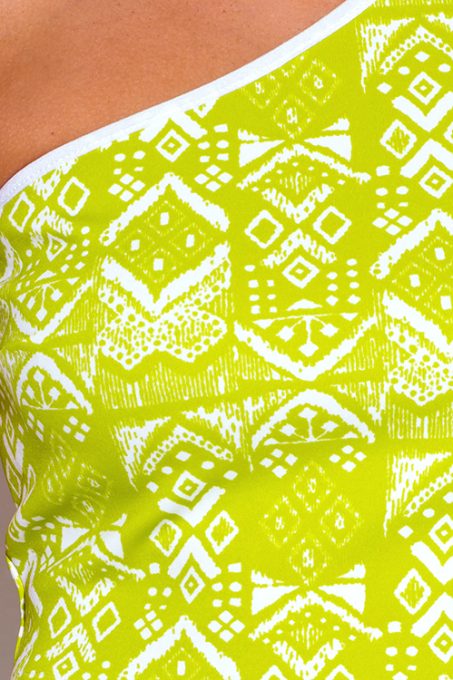 Cute cheap lime green ethnic print one shoulder fitted party crop top