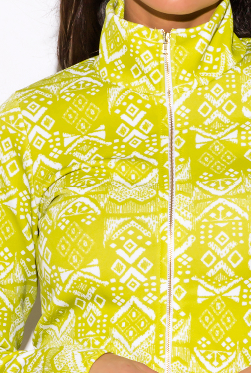 Cute cheap lime green ethnic print zip up mock neck sporty long sleeve jacket top