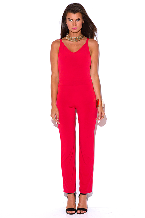 Cute cheap lipstick red backless caged cut out fitted bodycon evening clubbing jumpsuit