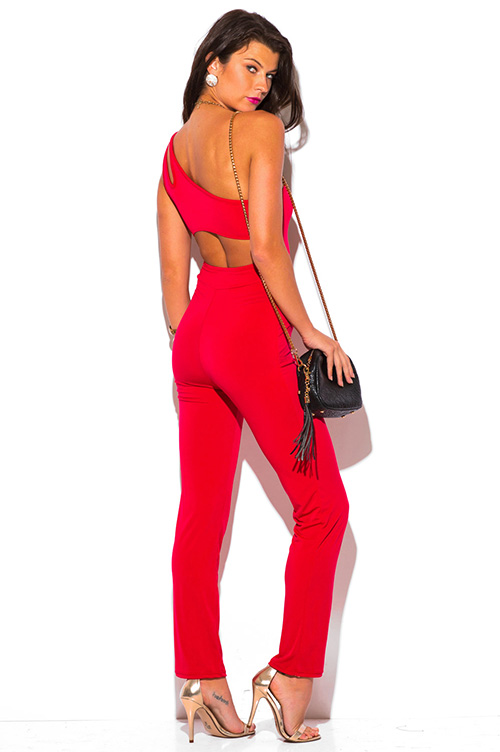 Cute cheap lipstick red cut out one shoulder backless evening party clubbing jumpsuit