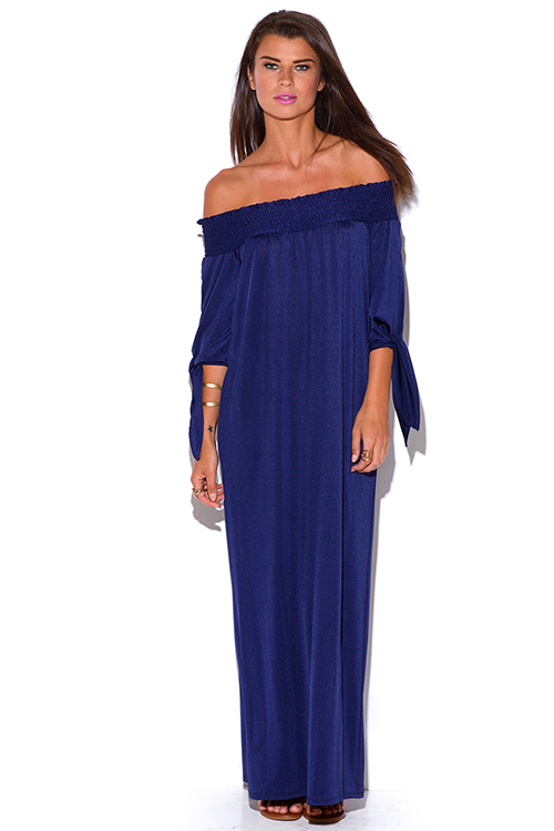 Cute cheap midnight navy blue smocked off shoulder sashed boho evening maxi dress
