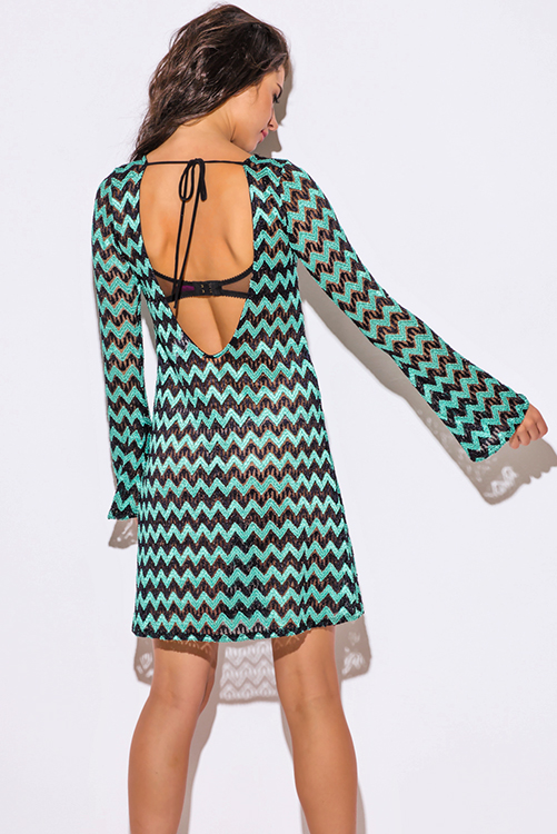 Cute cheap mint black chevron see through crochet lace bell sleeve backless boho club mini dress