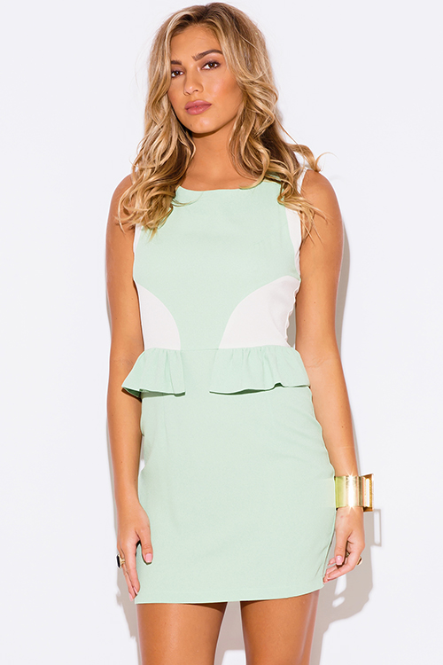 Cute cheap mint green color block pencil cocktail party dress