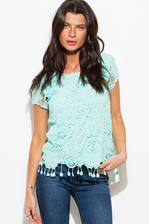Cute cheap mint green crochet lace overlay fringe trim top