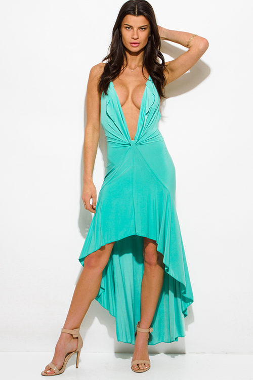 2137026576b5 Cute cheap mint green deep v neck halter tie backless high low hem formal  gown evening