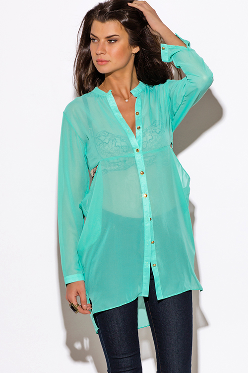 Mint Green Ruffle Blouse 17