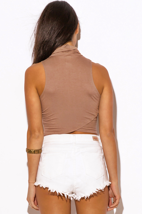 Cute cheap mocha beige high neck fitted party crop top
