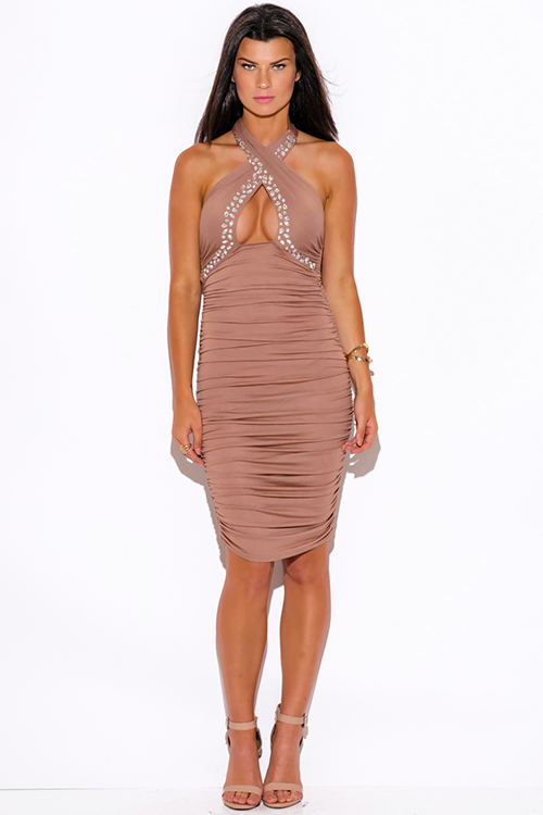 Cute cheap mocha bejeweled ruched fitted wrapped neck halter formal cocktail party club midi dress