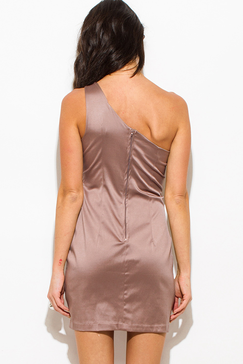 Cute cheap mocha brown bejeweled pencil fitted one shoulder formal cocktail party club mini dress