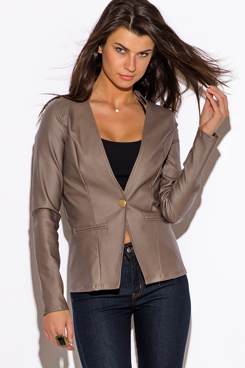 Cute cheap mocha brown cut out back long sleeve blazer jacket