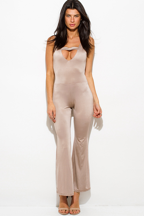 Cute cheap mocha brown taupe cut out sweetheart backless wide leg evening cocktail party jumpsuit
