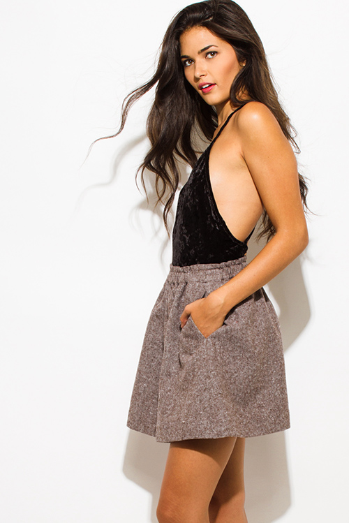 Cute cheap mocha brown tweed elastic high waisted pocketed mini skater skirt