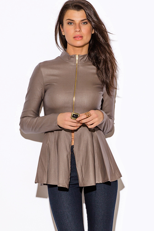 Cute cheap mocha brown zip up high neck peplum blazer jacket