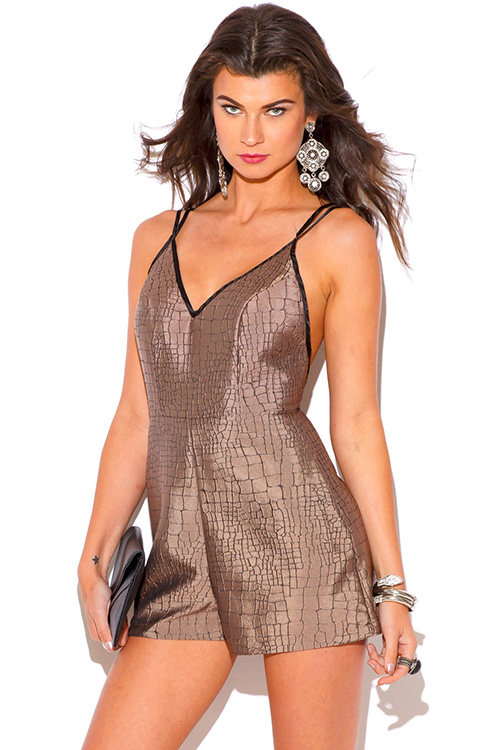 Cute cheap mocha marble print backless party romper jumpsuit