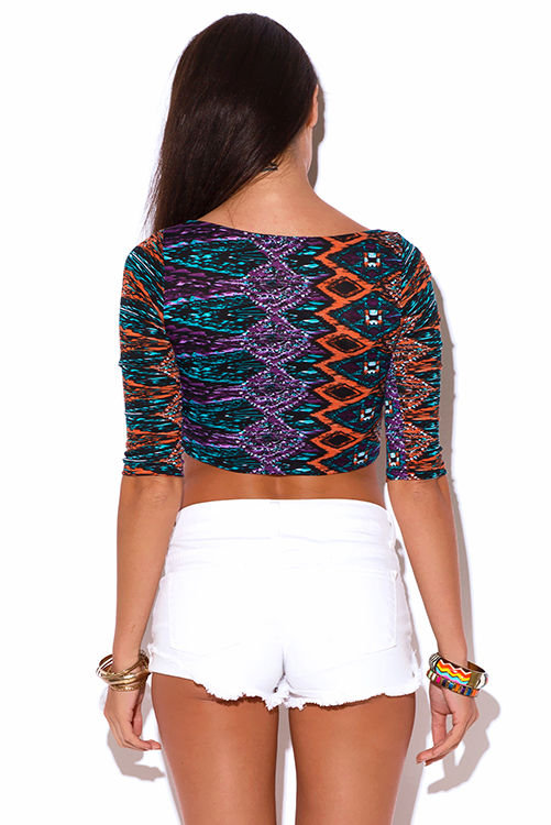 Cute cheap multi color abstract ethnic print v neck keyhole clubbing crop top