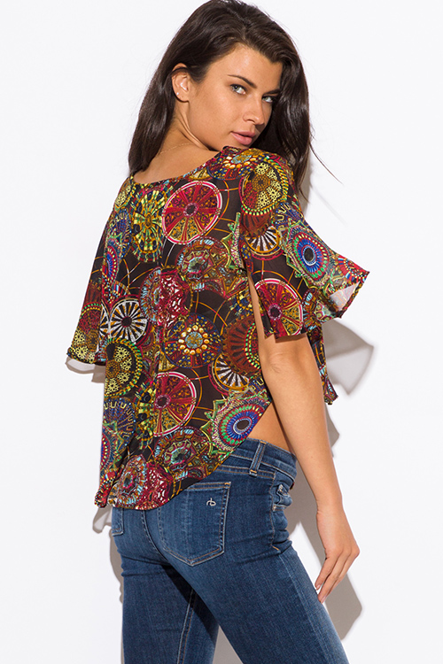 Cute cheap multi color ethnic print chiffon flutter sleeve laceup boho crop top