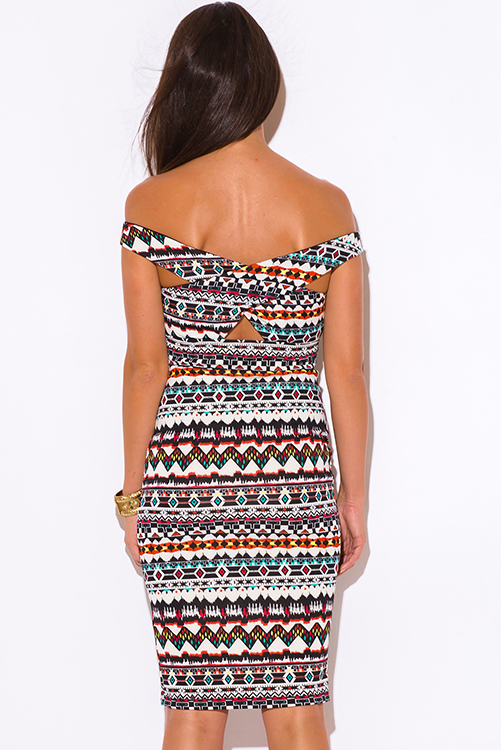 Cute cheap multi color ethnic print off shoulder cut out slit pencil cocktail party bodycon fitted clubbing midi dress