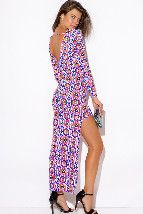 Cute cheap hot pink medallion print deep v neck long sleeve backless fitted high low party dress