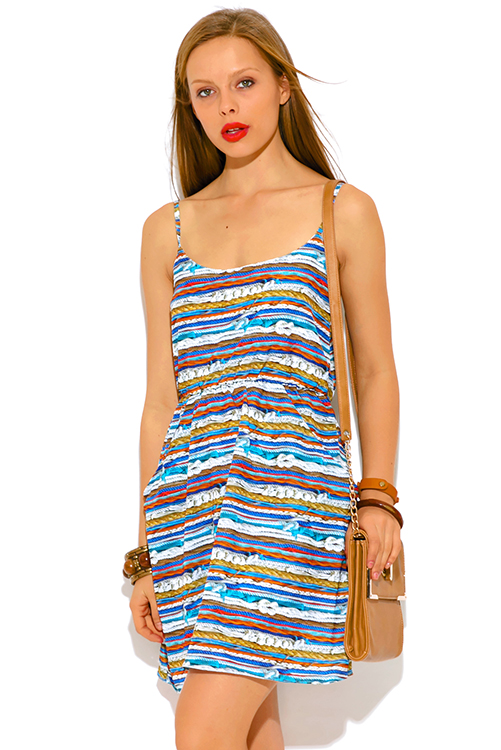 Cute cheap multi color graphic print retro a line pocketed sun dress
