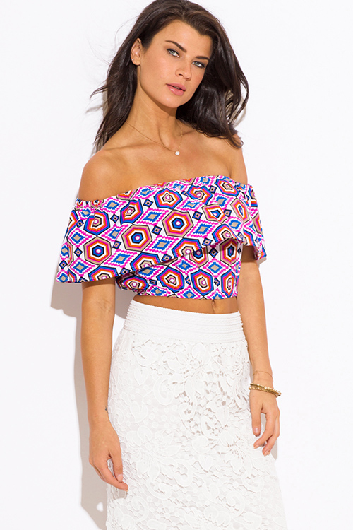Cute cheap multicolor abstract print ruffle off shoulder boho party crop top