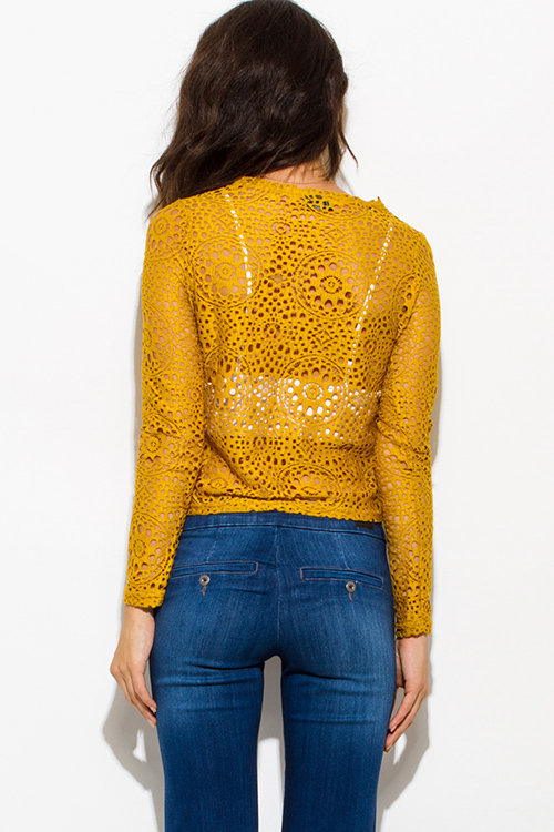 Cute cheap mustard yellow sheer crochet lace long sleeve boho crop blouse top