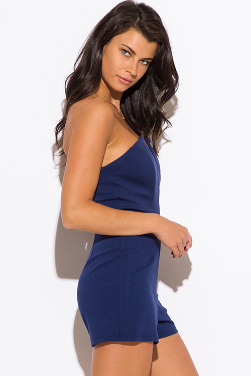 Cute cheap navy blue sweetheart v neck strapless party romper jumpsuit