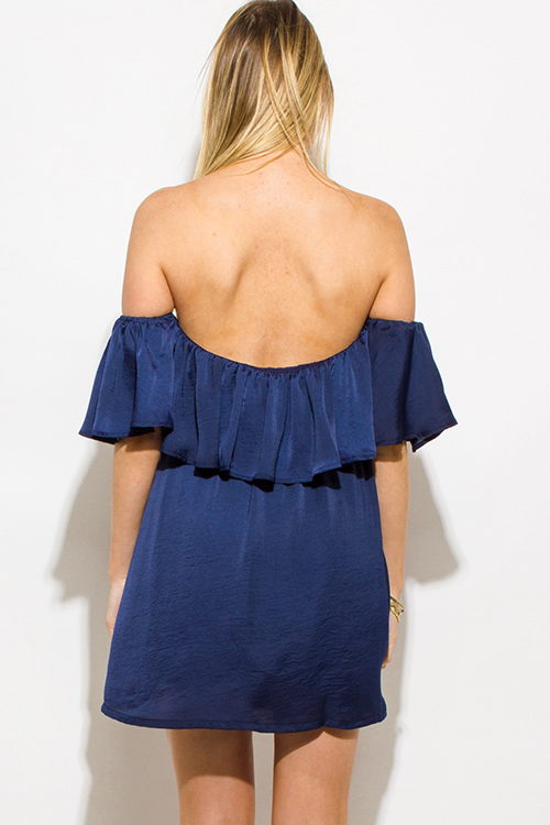 Cute cheap navy blue crinkle satin tiered off shoulder boho mini sun dress