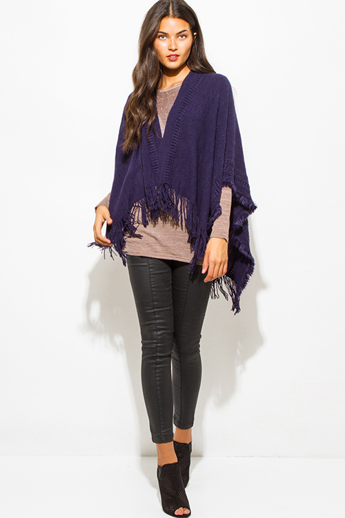 Cute cheap navy blue crochet knit fringe trim open front shawl poncho cardigan jacket