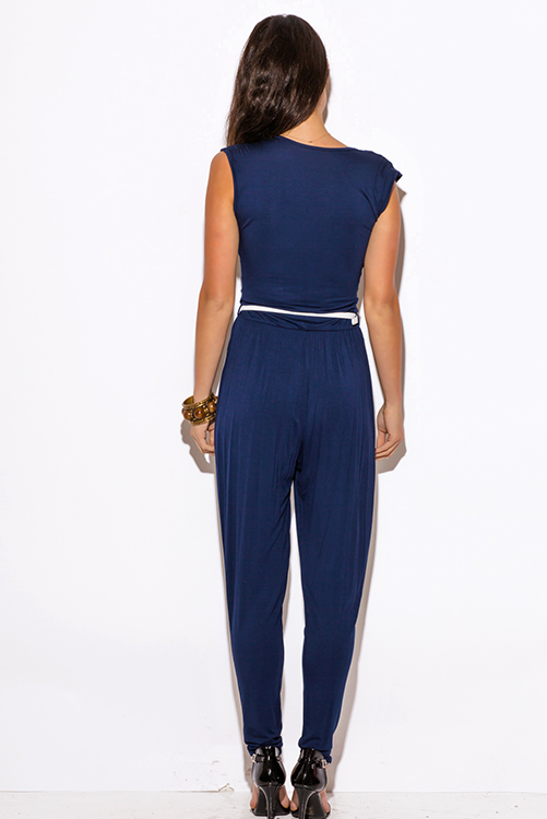 Cute cheap navy blue deep v neck animal print belted harem parachute jumpsuit