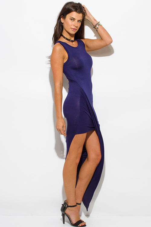 Cute cheap navy blue draped asymmetrical high low hem jersey bodycon maxi party dress