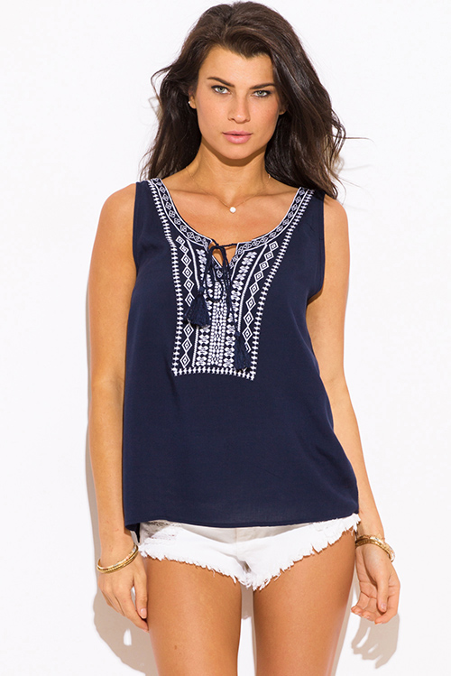 Cute cheap navy blue embroidered boho peasant tank top