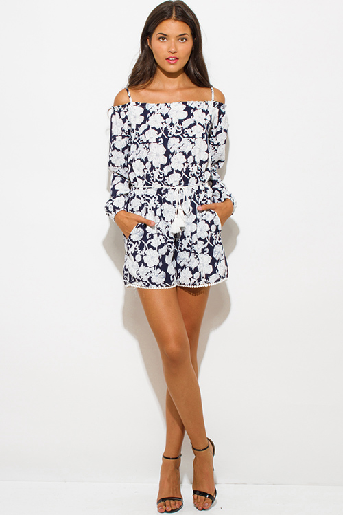 Cute cheap navy blue floral print off shoulder long sleeve drawstring waisted pocketed romper playsuit jumpsuit