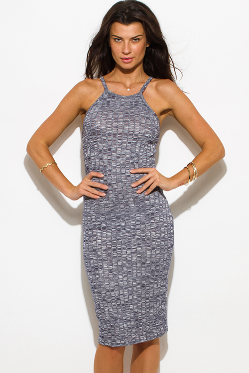 Cute cheap navy blue gray ribbed knit halter spaghetti strap racer back fitted bodycon sweater midi dress