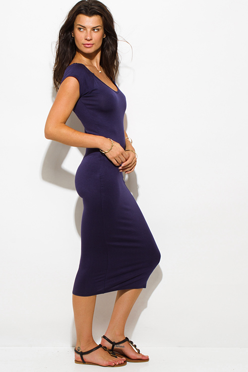 Cute cheap navy blue jersey cap sleeve off shoulder bodycon fitted midi dress