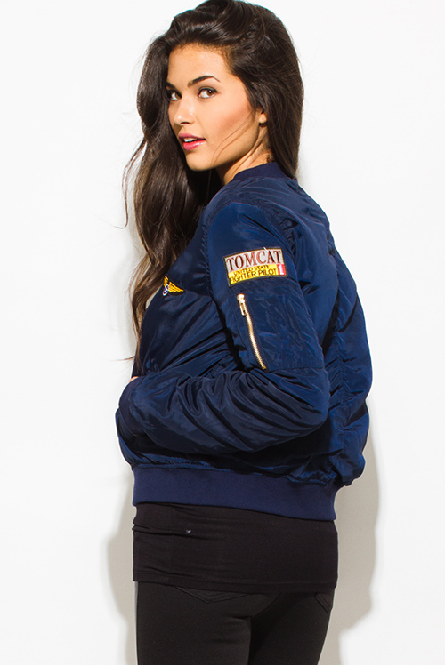 Cute cheap navy blue military zip up pocketed patch embroidered puff bomber jacket