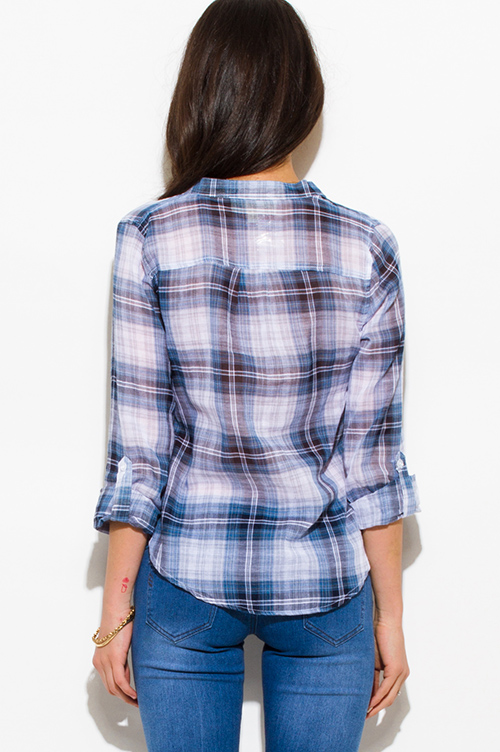 Cute cheap navy blue plaid cotton gauze quarter sleeve button up blouse top