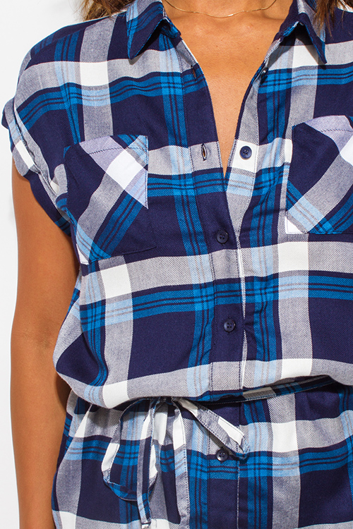 Cute cheap navy blue plaid flannel sleeveless button up drawstring blouse top