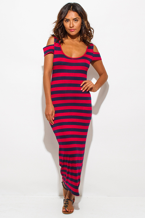 Cute cheap navy blue red stripe jersey cut out cold shoulder open back ankle maxi dress