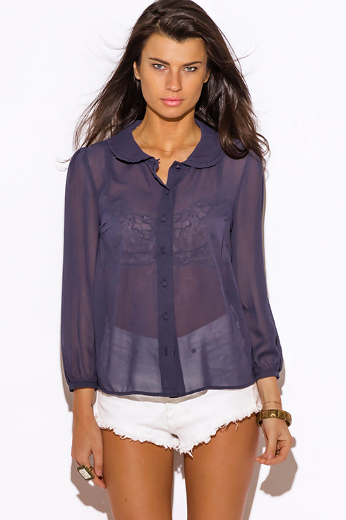 shop wholesale womens navy blue sheer chiffon blouse top
