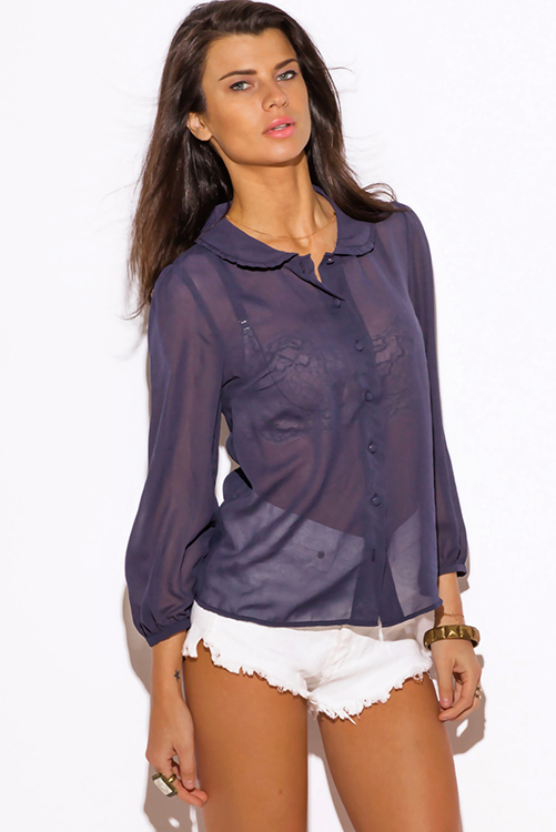 What To Wear With Navy Blue Sheer Blouse 121