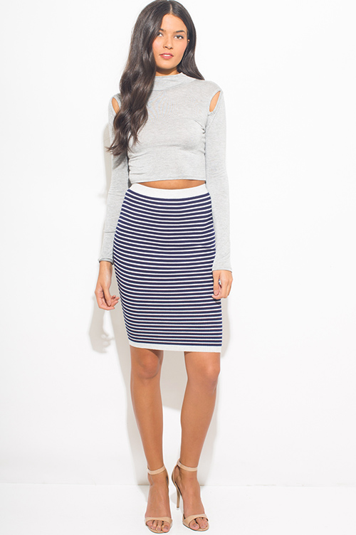 Shop navy blue striped ribbed knit fitted midi pencil skirt