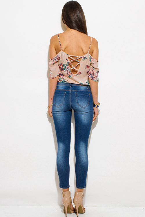 Cute cheap navy blue washed denim high waisted distressed ripped skinny fit ankle jeans